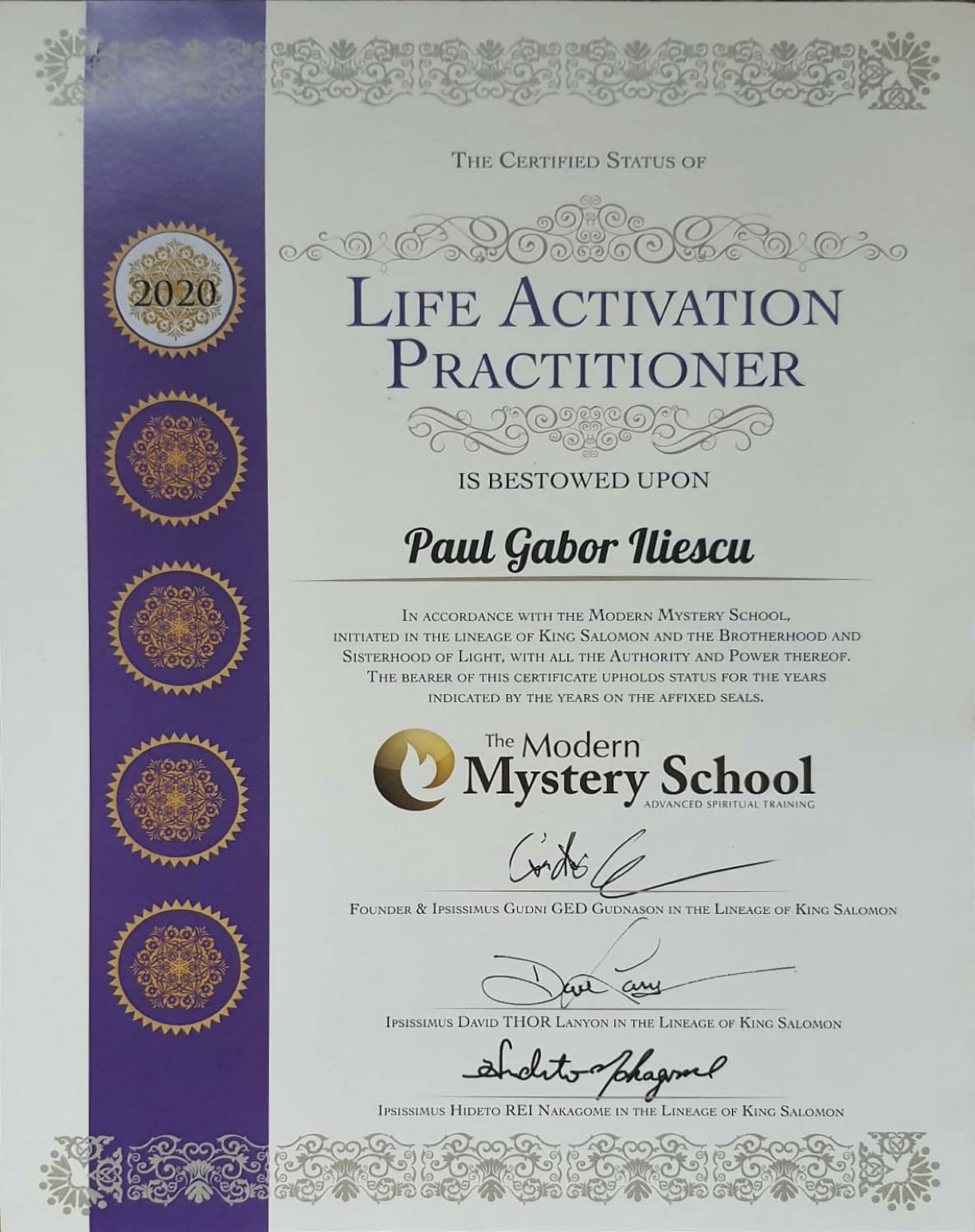 Life Activation Diploma MMS Paul GI - Certified Practitioner
